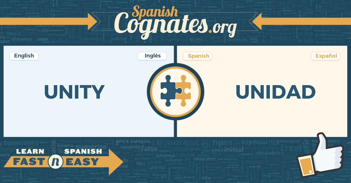 Spanish Cognates: unity-unidad
